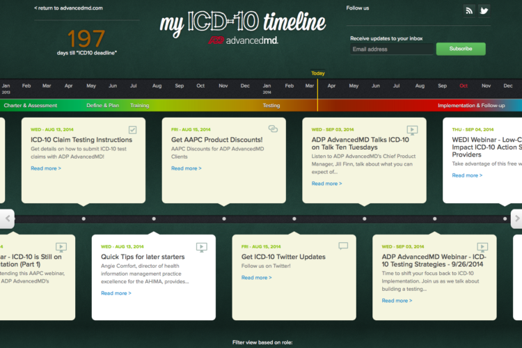 My ICD-10 Timeline readiness portal